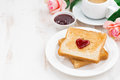 Breakfast With Toast And Espresso For Valentine S Day Royalty Free Stock Photography - 65644667