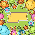 Cute Child Background With Kawaii Doodles. Spring Collection Of Cheerful Cartoon Characters Sun, Cloud, Flower, Leaf Royalty Free Stock Photography - 65669567