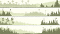 Vector Banners Of Misty Coniferous Forest With Glades Stock Image - 65674261