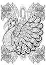 Hand Drawing Artistic Swan In Flowers For Adult Coloring Pages  Royalty Free Stock Image - 65683496