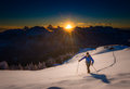 Ascending To The Top. Ski Mountaineering Cross Country Skiing Al Stock Photography - 65683842