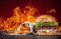 Home Made Burgers With Fire Flames. Royalty Free Stock Photography - 65689327