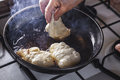 Fritters Fry On Frying Pan Royalty Free Stock Photo - 65690265