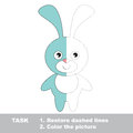 Blue Bunny To Be Colored. Vector Trace Game. Royalty Free Stock Image - 65701016