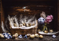 Basket With Quail Eggs And Feathers And Spring Flowers Hyacinths  Bunch On Vintage Wooden Table, Over Rustic Background, Side View Stock Photo - 65708200