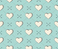 Seamless Pattern With Heart And Arrows In Vintage Style Engraving On A Turquoise Background For Valentine S Day. Hand Drawn Stock Photography - 65708332