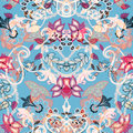 Seamless Floral Background. Abstract Paisley Style Flowers On Bl Royalty Free Stock Photos - 65712088