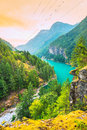 Scene Over Diablo Lake When Sunrise In The Early Morning In North Cascade National Park,Wa,Usa. Stock Photo - 65716690
