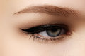 Cosmetics & Make-up. Beautiful Female Eye With Sexy Black Liner Royalty Free Stock Photo - 65736775