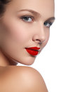 Beauty Model Girl With Perfect Make-up Isolated Over White. Port Stock Photos - 65737513