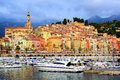 Yachts In The Marina Of Colorful Medieval Town Menton On French Stock Photos - 65741103