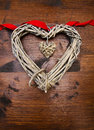 Valentines Day Wood Heart And Ribbon Stock Photography - 65741332