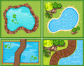Four Scene Of Pool And Pond Stock Images - 65747554
