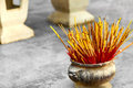 Buddhism, Thailand Religion. Incense Sticks In Urn In Temple. Pr Royalty Free Stock Images - 65756189