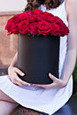 Bouquet Of Red Roses In A Box Royalty Free Stock Images - 65774069
