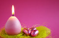 Easter Candle With Easter Eggs Stock Photo - 65775800