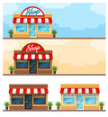 Facade Exterior Shop Flat Design With Sign Stock Images - 65782014