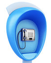 Blue Public Pay Phone On A White Background. 3d Rendering Royalty Free Stock Images - 65782919