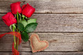 Red Roses And Valentine S Day Heart Stock Photography - 65786472