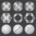 Screws, Nuts And Bolts Realistic Icons Set Stock Photo - 65801300