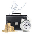 Alarm Clock,  Briefcase, Coins , Map Isolated Stock Photography - 65801542