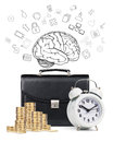 Alarm Clock,  Briefcase, Coins , Map Isolated Royalty Free Stock Photo - 65801565