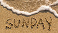 Inscription SUNDAY On A Gentle Beach Sand With The Soft Wave. Royalty Free Stock Photos - 65803958