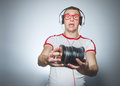 Funny Dj With Cds Royalty Free Stock Image - 65837476