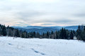 Winter Landscape With Mountain And Forest Stock Image - 65839041