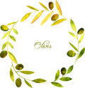 Round Wreath With Watercolor Green Leaves And Olives Royalty Free Stock Images - 65863859