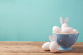 Easter Eggs In Bowl On Wooden Table With Copy Space Stock Image - 65868121