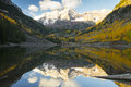 Snow On The Maroon Bells Near Aspen Colorado Stock Images - 65872504
