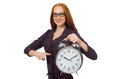 Pretty Office Employee With Alarm Clock Isolated On White Royalty Free Stock Photos - 65883218