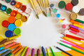 Colored Paper, Felt-tip Pens, Pencils, Brushes And Gouache Frame Royalty Free Stock Photo - 65892575