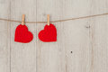 Red Heart Hanging On The Clothesline. On Old Wood Background Royalty Free Stock Image - 65905776