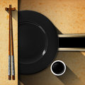 Asian Menu With Wooden Chopsticks Royalty Free Stock Image - 65920446