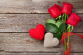 Red Roses And Valentine S Day Hearts Stock Photo - 65924430
