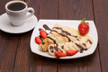 Crepes With Banana And Strawberries Stock Photography - 65924812