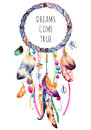 Ethnic Illustration With Native American Indian Watercolor Dreamcatcher. Royalty Free Stock Photography - 65925217