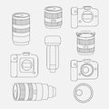Set Of Photo Studio Equipment, Camera And Optic Lenses Flat Icons Stock Image - 65937141