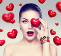 Fashion Woman With Red Hearts Stock Photos - 65941493
