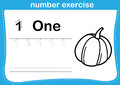 Number Exercise With Cartoon Coloring Book Illustration Stock Images - 65943334
