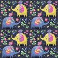 Seamless Pattern With Elephants, Birds, Plants, Jungle, Flowers, Hearts, Berry Royalty Free Stock Photos - 65954118