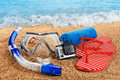 Scuba Mask And Snorkel On The Sand. Action Camera. Stock Images - 65955574