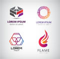 Vector Set Of Abstract Shapes, Logos, Icons Isolated. Royalty Free Stock Photo - 65964725