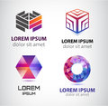 Vector Set Of Abstract Shapes, Logos, Icons Isolated. Royalty Free Stock Images - 65964999