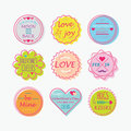 Cute Colorful Valentine S Day, Love Tags And Labels Set Stock Photography - 65971932