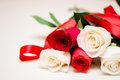 Red And White Roses On A Light Wooden Background. Women  S Day, Stock Photo - 65981440
