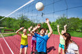 Teens In Motion With Arms Up Try To Catch Ball Royalty Free Stock Photography - 65983127