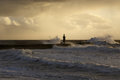 Stormy Sea Waves At Winter Sunset Stock Photo - 65984700